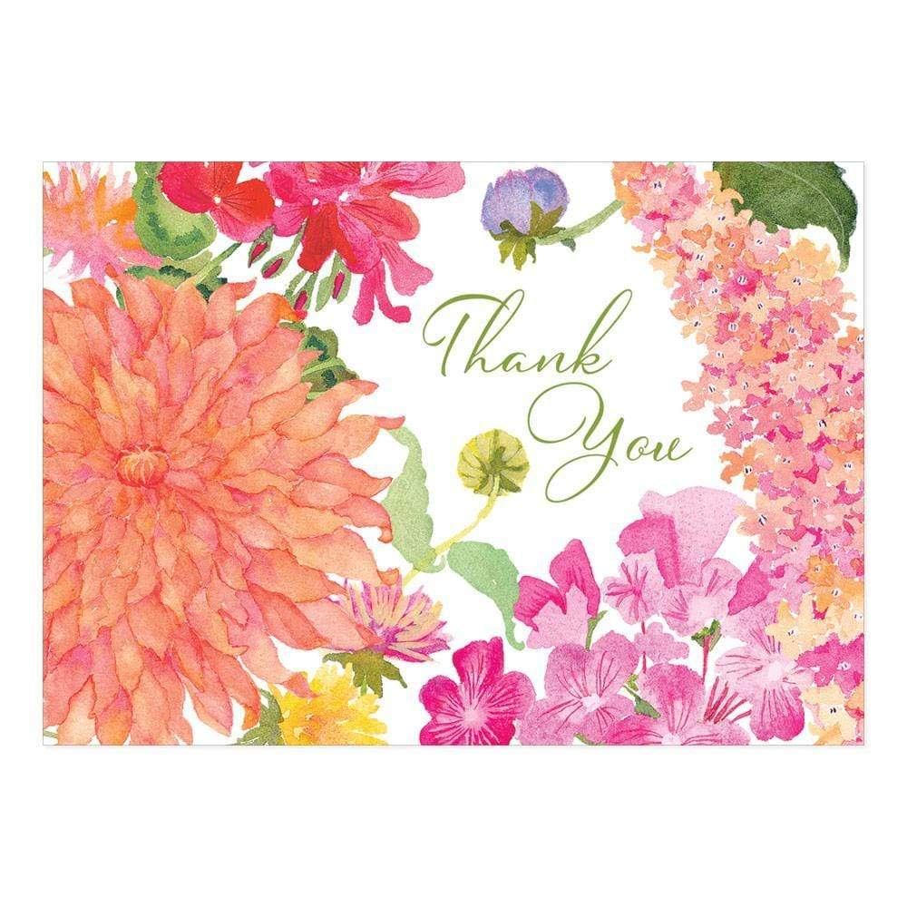 Caspari Summer Blooms Thank You Notes - 8 Note Cards & 8 Envelopes 91609.44