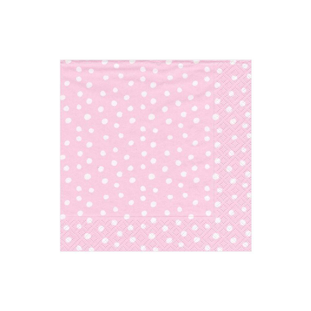 Caspari Small Dots Paper Cocktail Napkins in Pink - 20 Per Package