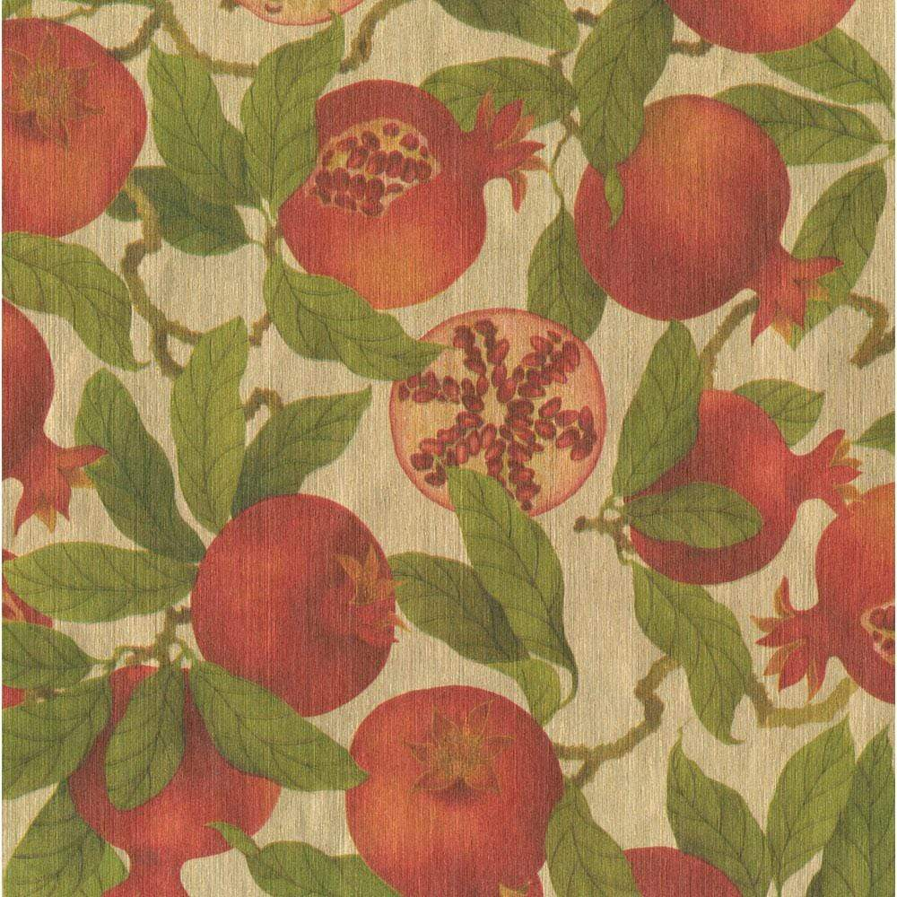"Caspari Pomegranates Gift Wrap Roll in Gold Foil Paper - 30"" x 8' Roll"