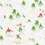 "Caspari Winter Sports Gift Wrap Roll in White Soft Touch Paper - 30"" x 8' Roll"