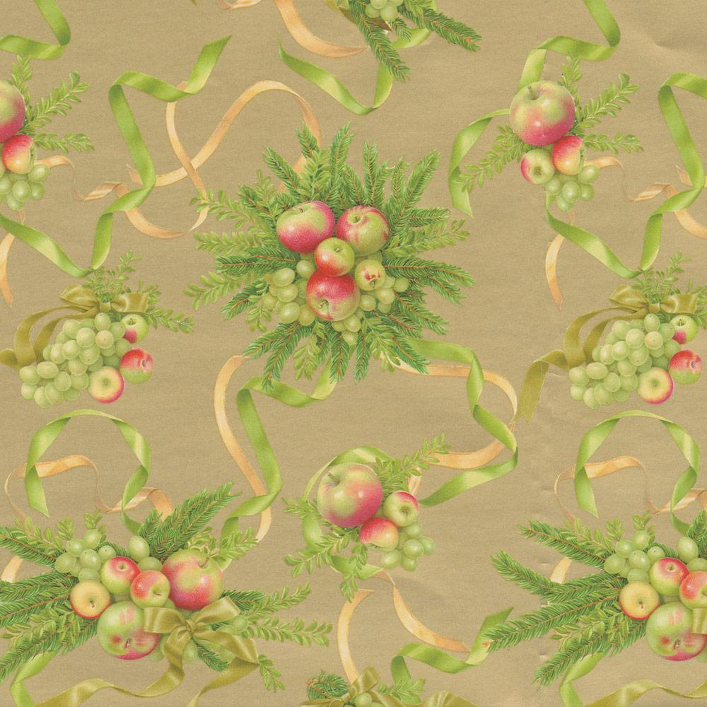 "Caspari Apples and Greenery Gift Wrap Roll in Gold - 30"" x 8' Roll"