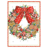 Caspari Candy Wreath Advent Calendar Greeting Card - 1 Card & 1 Envelope