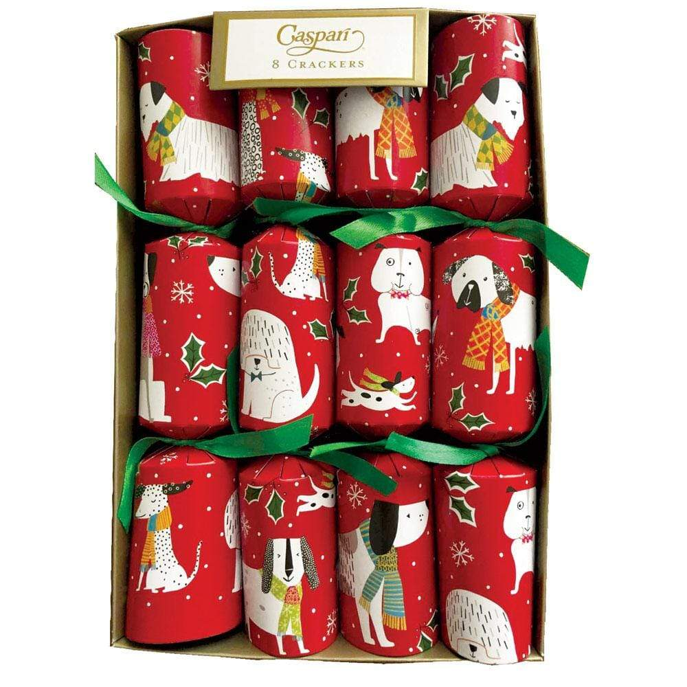 Caspari Christmas Canines Celebration Christmas Crackers - 8 Per Box