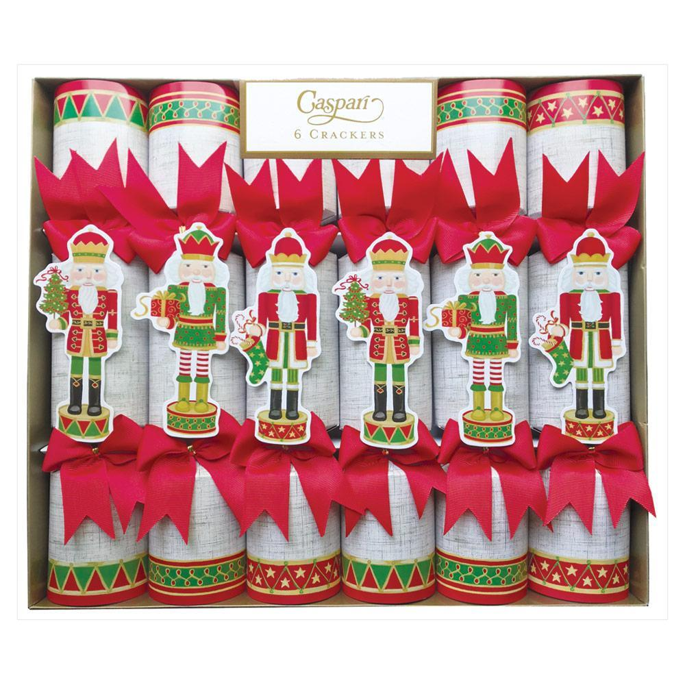 Caspari Nutcracker Parade Celebration Christmas Crackers in Beige Linen - 6 Per Box