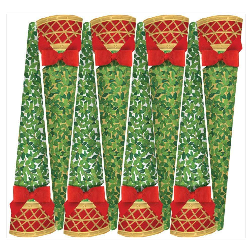 Caspari Boxwood Topiary Cone-Shaped Celebration Christmas Crackers in Ivory & Gold - 8 Per Box