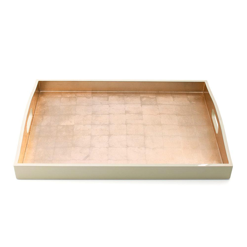 Caspari Gold & Ivory Lacquer Large Rectangle Tray - 1 Each