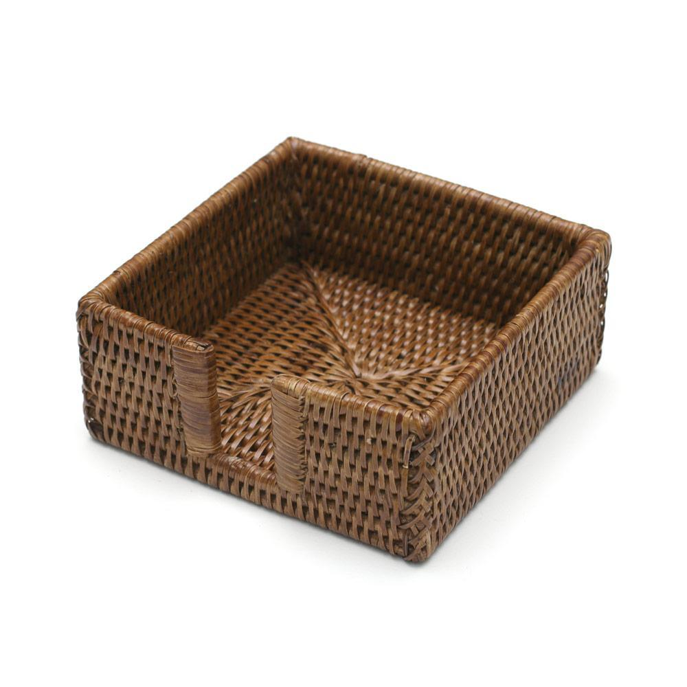 Caspari Rattan Cocktail Napkin Holder in Dark Natural - 1 Each