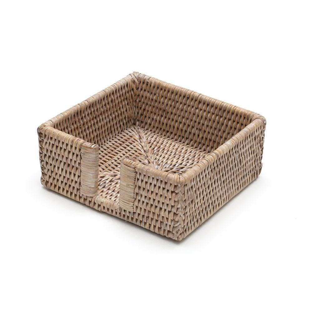 Caspari Rattan Cocktail Napkin Holder in White Natural - 1 Each