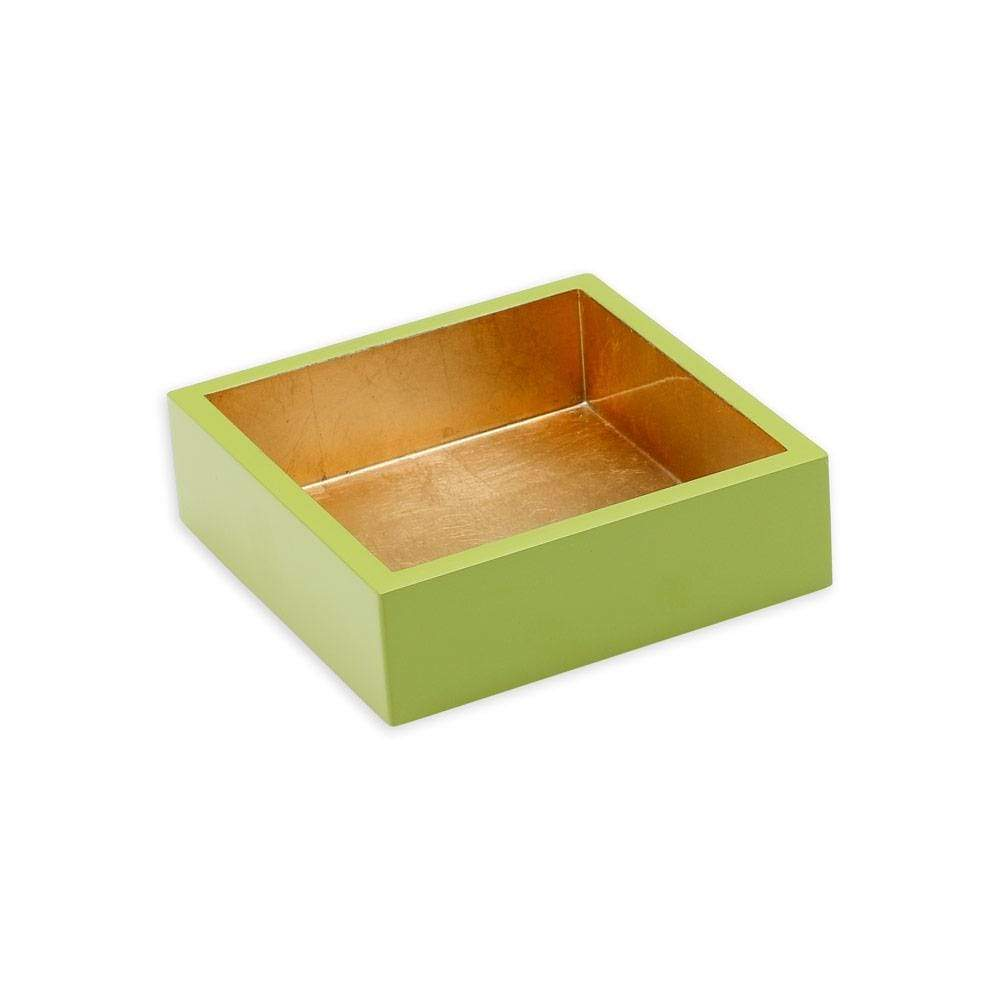 Caspari Lacquer Cocktail Napkin Holder in Sage & Gold - 1 Each