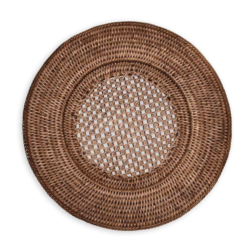 Caspari Rattan Round Plate Charger in Dark Natural - 1 Each