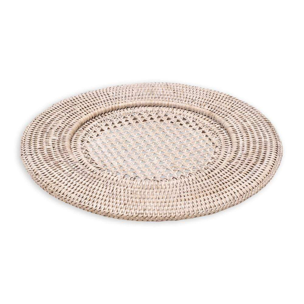 Caspari Rattan Round Plate Charger in White Natural - 1 Each