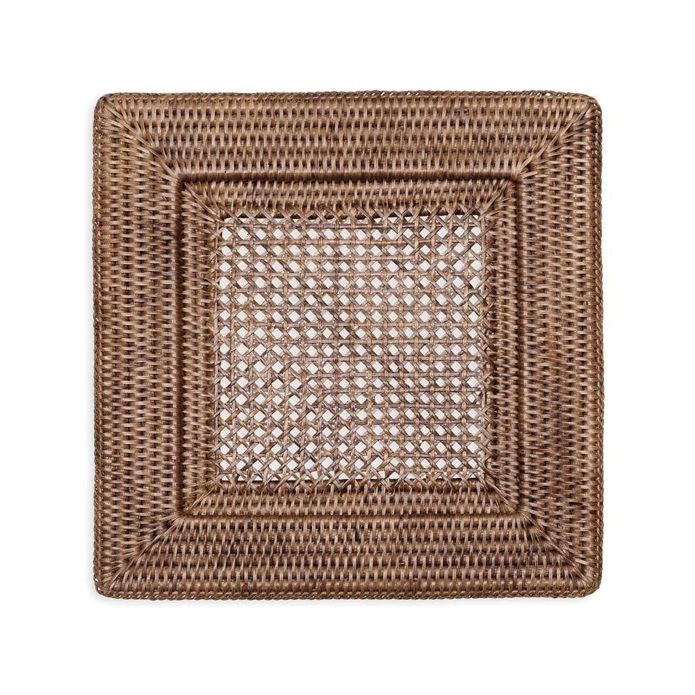 Caspari Rattan Square Plate Charger in Dark Natural - 1 Each