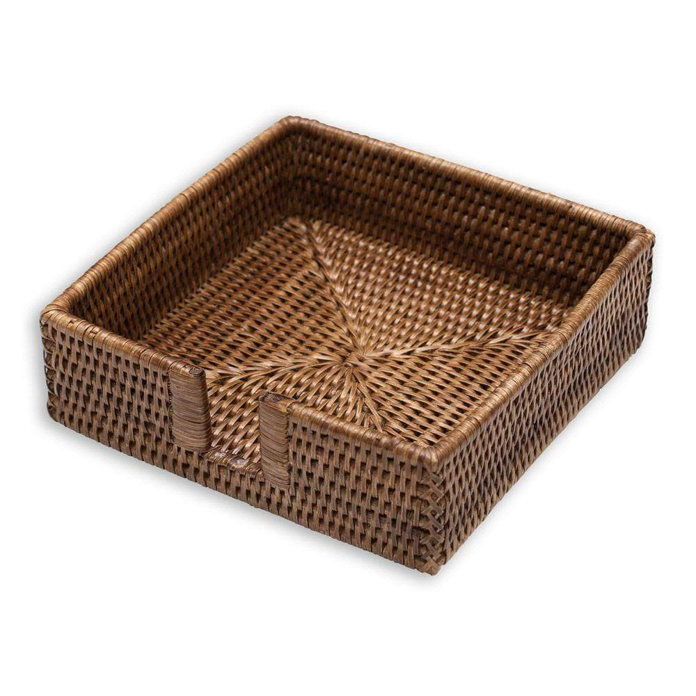 Caspari Rattan Luncheon Napkin Holder in Dark Natural - 1 Each