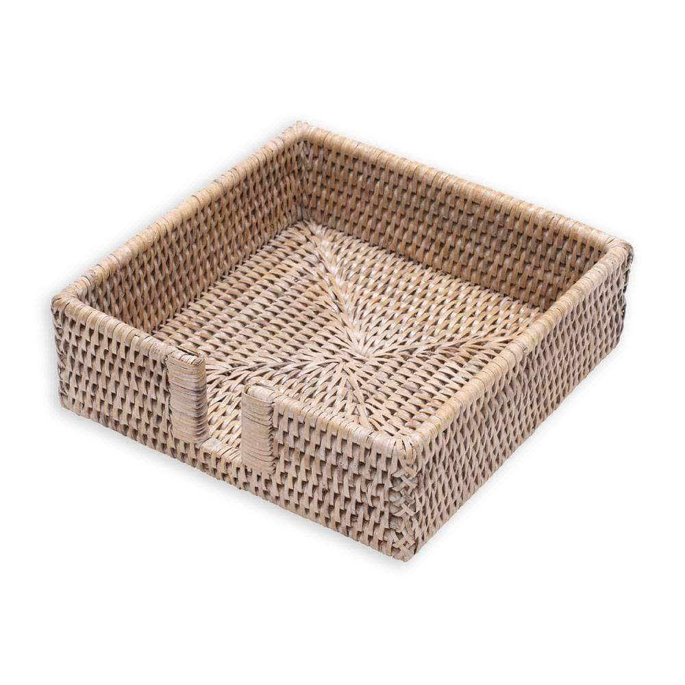 Caspari Rattan Luncheon Napkin Holder in White Natural - 1 Each