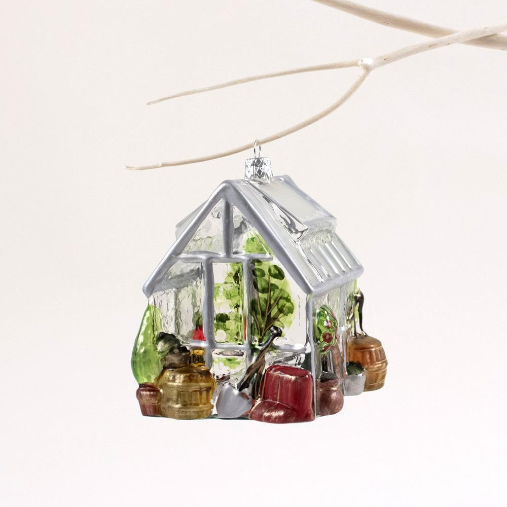 Caspari Greenhouse Blown Glass Christmas Tree Ornament