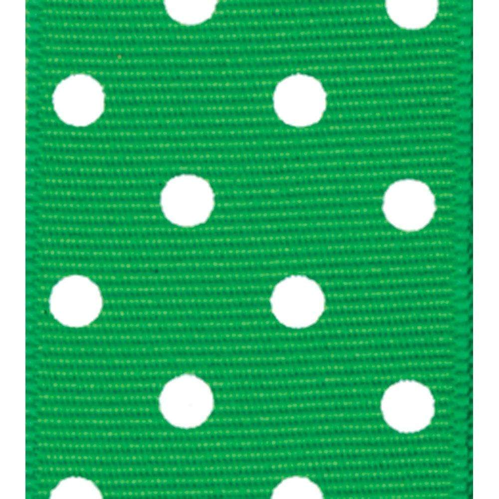 Caspari Green & White Polka Dot Ribbon - 6 Yard Spool