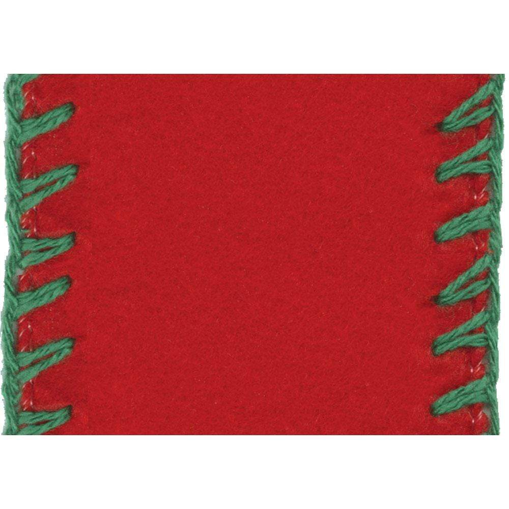 Caspari Wide Red Felt Ribbon with Green Stitches - 4 Yard Spool