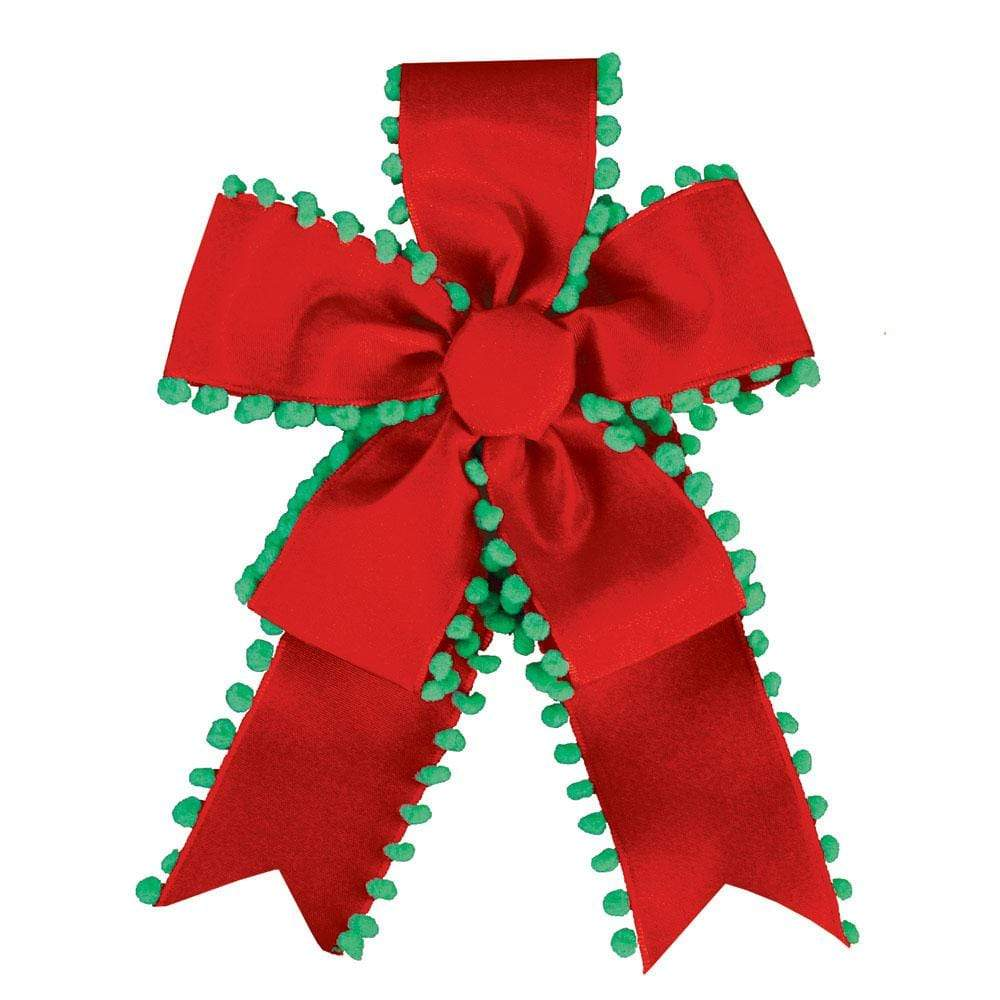 Caspari Pom Pom Ribbon Bow in Red & Green - 1 Each