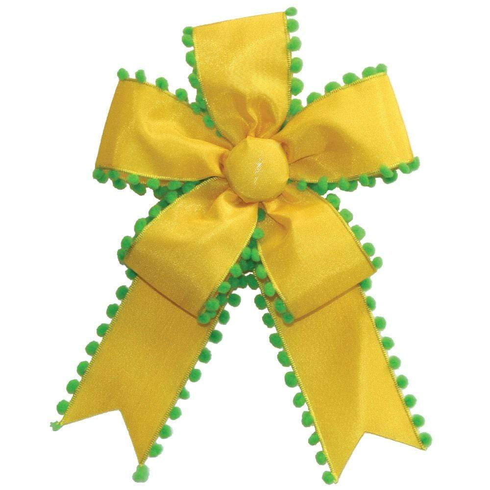 Caspari Pom Pom Ribbon Bow in Yellow & Green - 1 Each