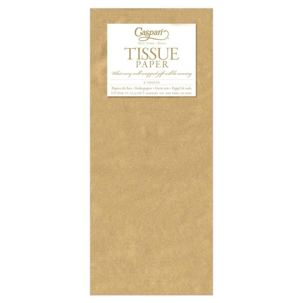 Caspari Solid Tissue Paper in Gold - 4 Sheets Included