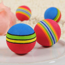 10 Pcs  Rainbow Toy Ball Small for cats