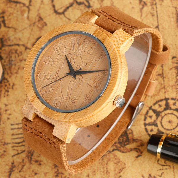 Bamboo Genuine Leather Cat WristWatch