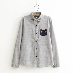 My purrfect button-up blouse