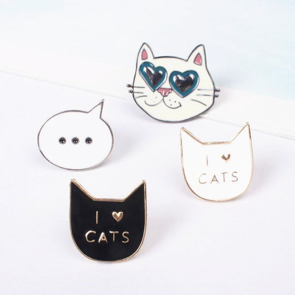 I love Cat Kitty Metal Brooch Pins
