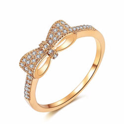 Cubic Zirconia bowknot ring