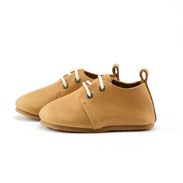 Natural - Premium Leather Oxfords - Hard Sole