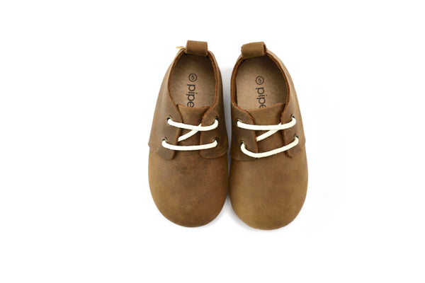 Brown - Premium Leather Oxfords - Hard Sole
