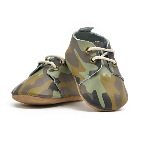 Camo - Premium Leather Oxfords - Soft Sole