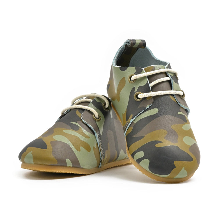 Camo - Premium Leather Oxfords - Hard Sole