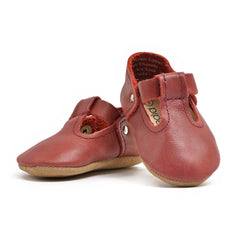 Burgundy - T-Strap Mary Jane - Soft Sole