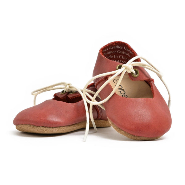 Burgundy - Lace-Up Mary Jane - Soft Sole