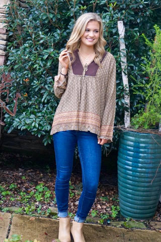 Brown Bell Sleeved Top