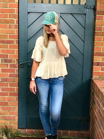 Cream Peplum Top