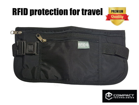 Compact Technologies Travel Waist Money Belt with RFID Blocker