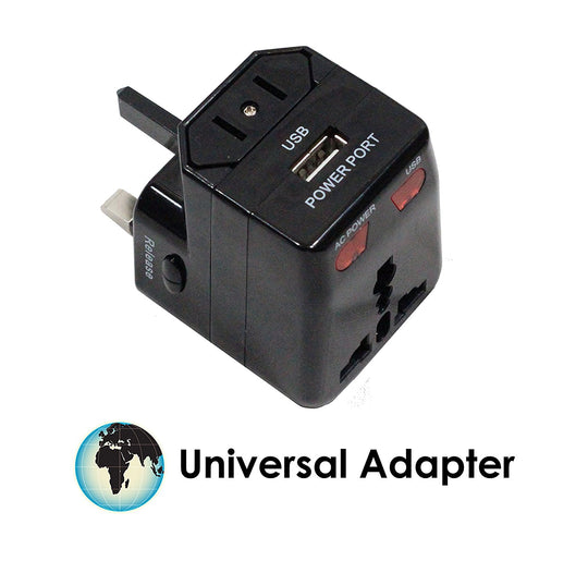 Compact Technologies Travel Adapter Plug with USB Charger - Works in all Countries