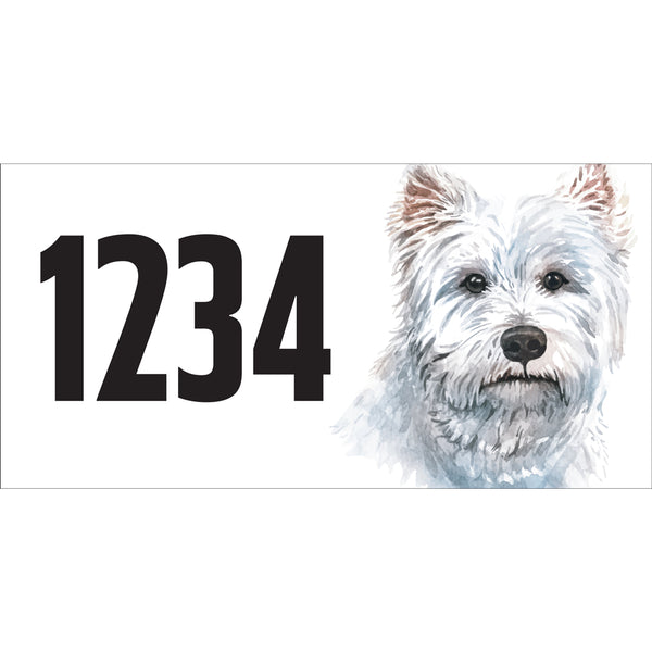 "Westie Terrier Address Plaque - 12"" x 6"""