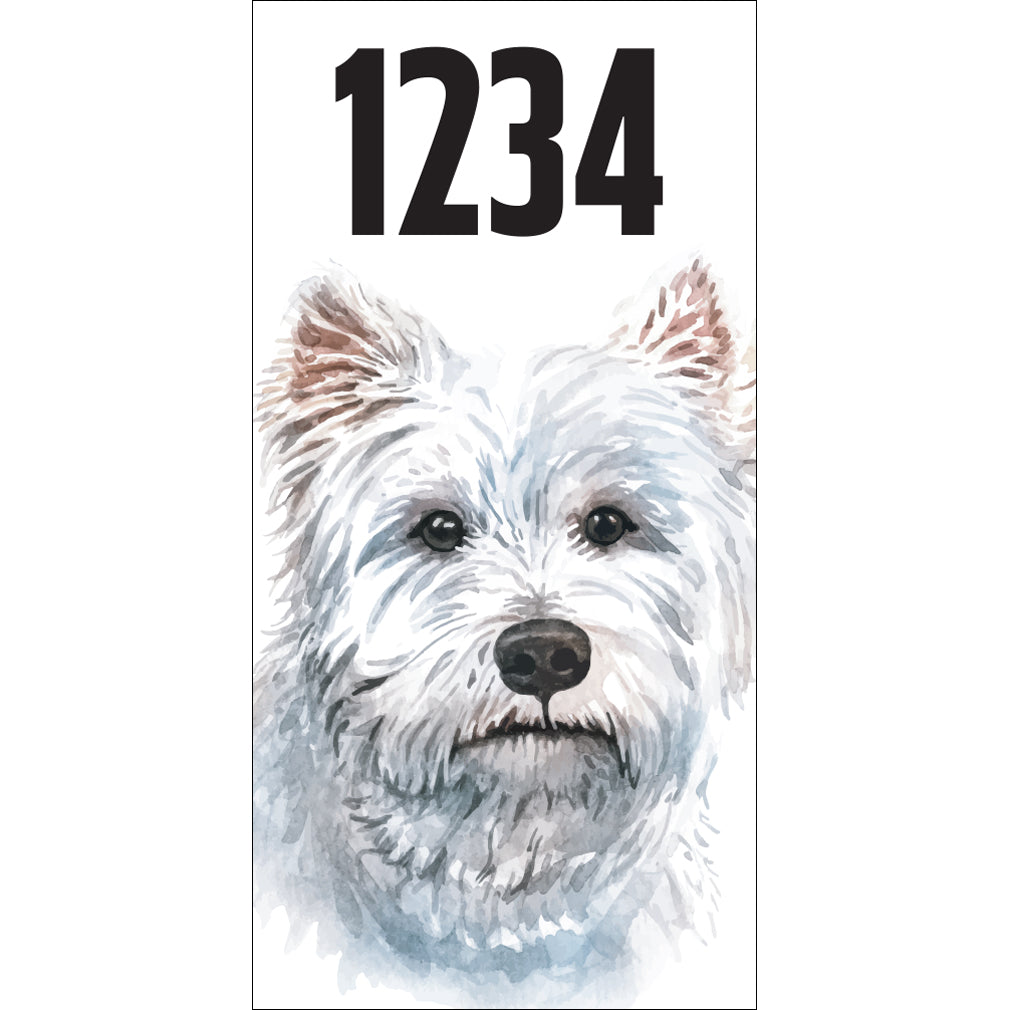 "Westie Terrier Address Plaque - 3.5"" x 7"""
