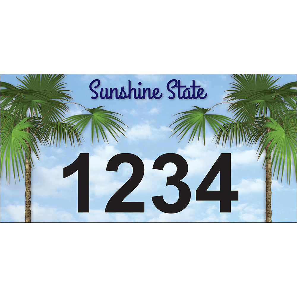 "Florida Palm Trees Address Plaque - 12"" x 6"""