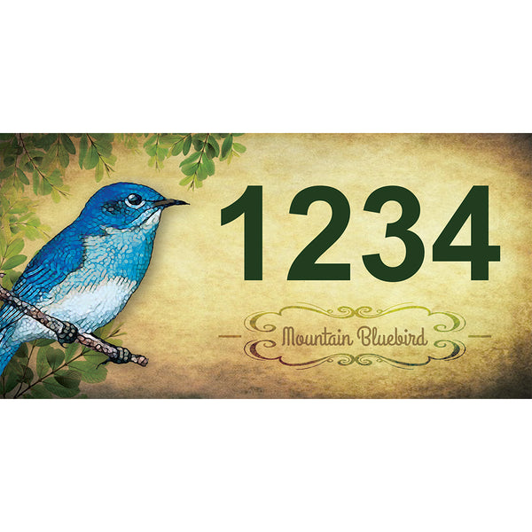 "Mountain Bluebird Address Plaque - 7"" x 3.5"""