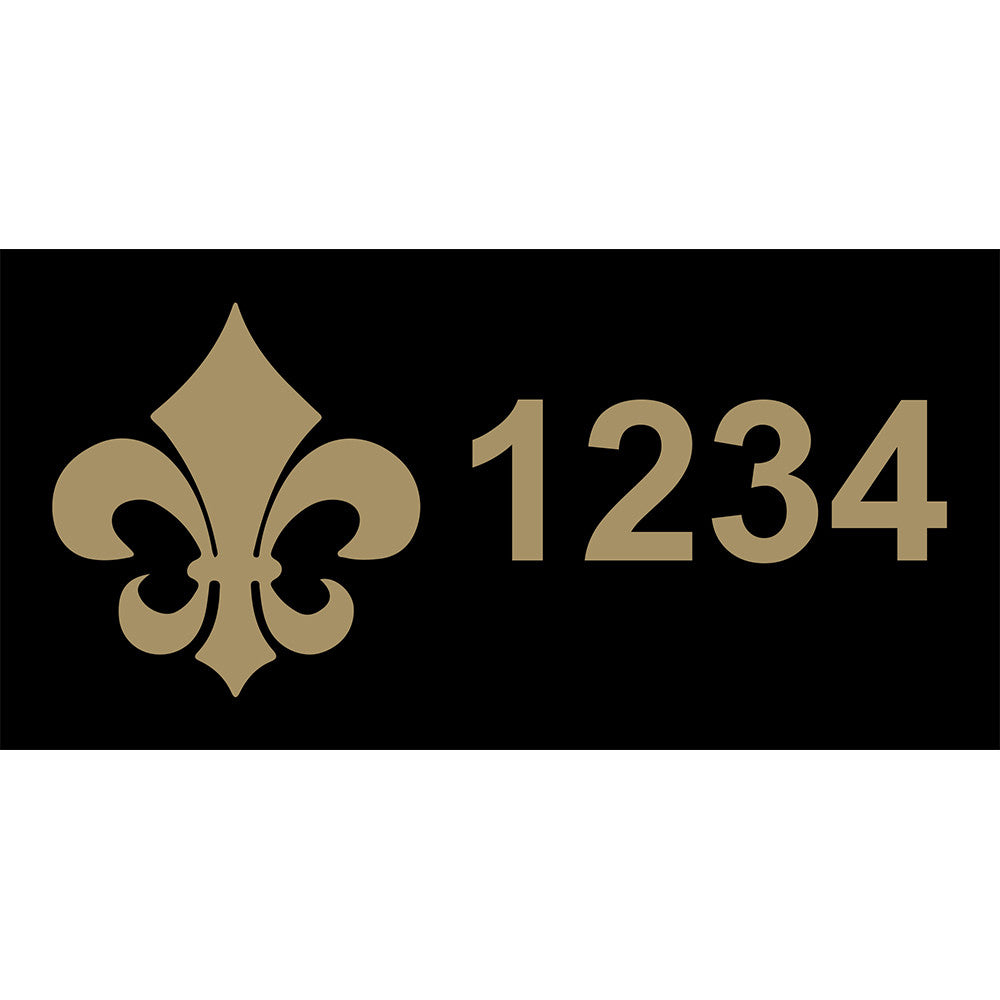 "Fleur-de-Lis Black & Gold Address Plaque - 12"" x 6"""