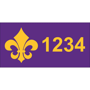 "Fleur-de-Lis Purple & Gold Address Plaque - 12"" x 6"""