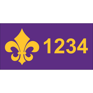 "Fleur-de-Lis Purple & Gold Address Plaque - 7"" x 3.5"""