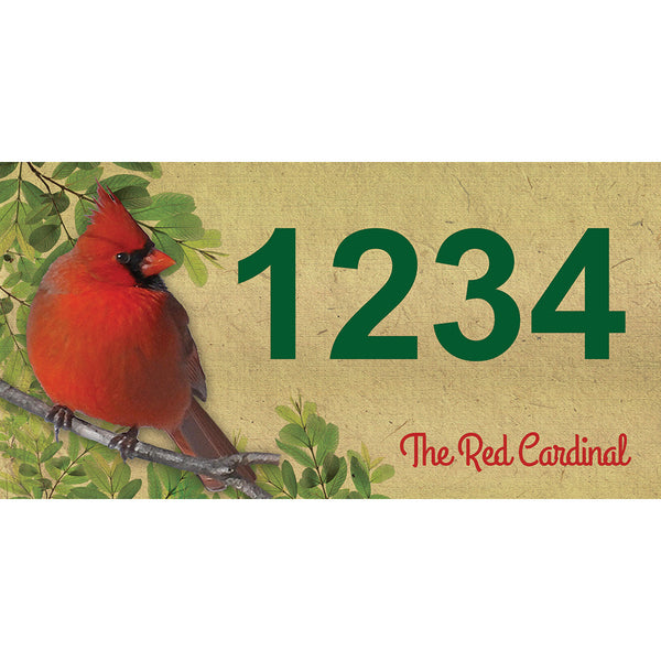 "Red Cardinal Address Plaque - 12"" x 6"""