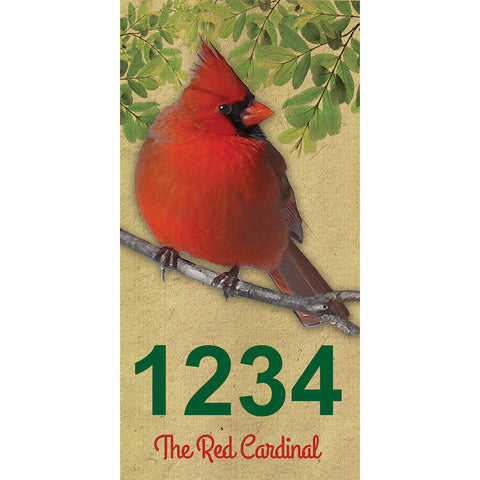 "Red Cardinal Address Plaque - 3.5"" x 7"""