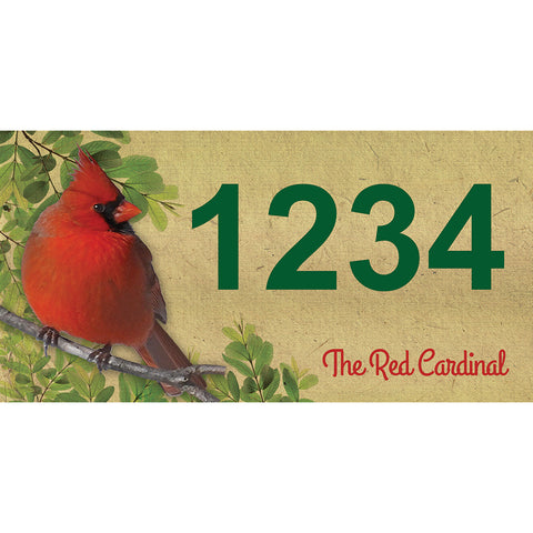 "Red Cardinal Address Plaque - 7"" x 3.5"""