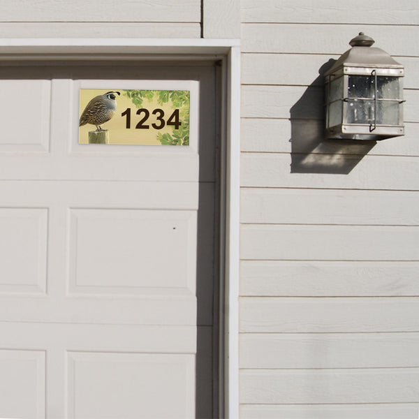 "Quail Address Plaque - 12"" x 6"""